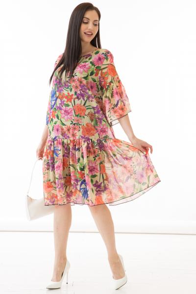 Платье Хороша собой (цветы, пинк) П2344